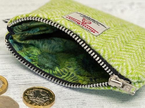 Lime Green & White Herringbone Harris Tweed Coin Purse