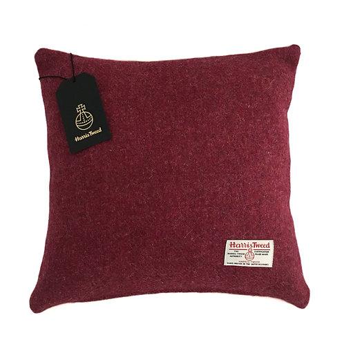 Crimson Red Harris Tweed Cushion Cover