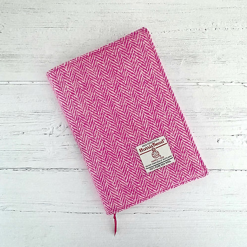 Pink & White Herringbone Harris Tweed Padded A5 Notebook Cover
