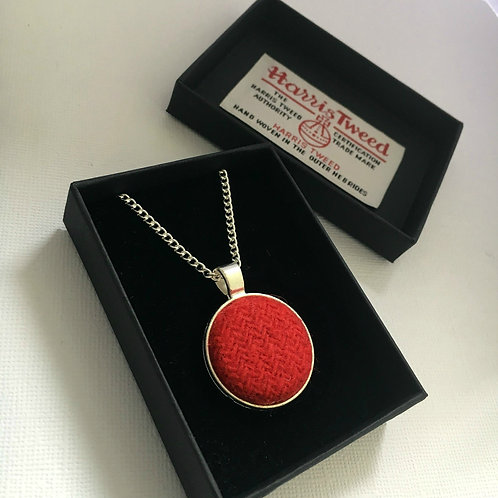 Berry Red Harris Tweed Necklace