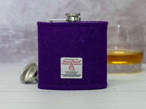Harris Tweed Hip Flask - Purple