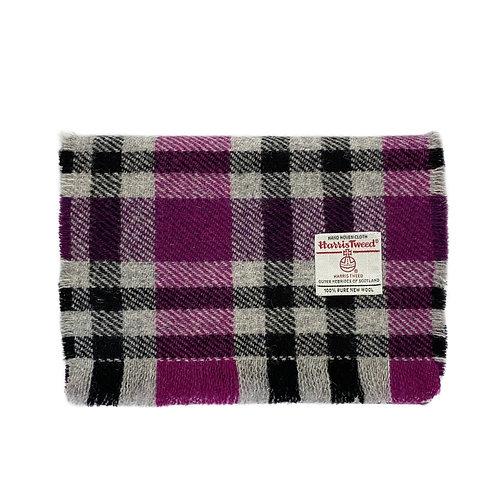 Pink, Black and Grey Tartan Check Harris Tweed Luxury Fringed Scarf
