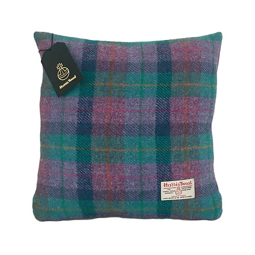 Violet & Kingfisher Blue Tartan Check Harris Tweed Cushion Cover