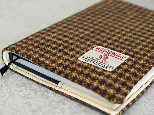 Golden Brown & Burgundy Harris Tweed Padded A5 Notebook Cover