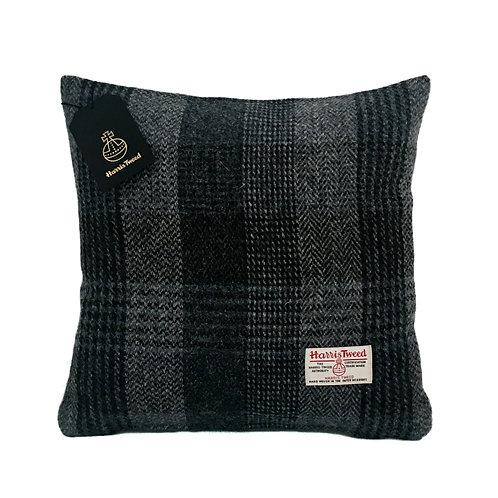 Black & Blue / Grey Check Harris Tweed Cushion Cover
