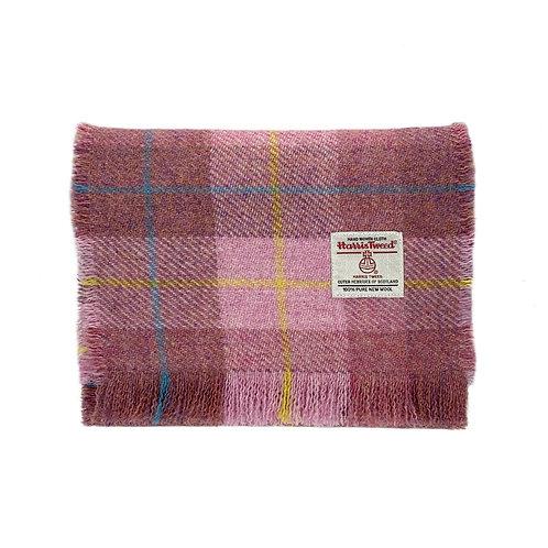 Blush Pink Tartan Harris Tweed Luxury Fringed  Scarf