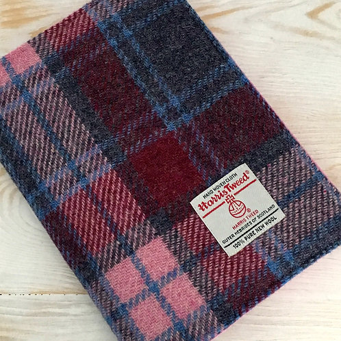Crimson / Raspberry & Pale Pink Tartan Harris Tweed Padded A5 Notebook Cover