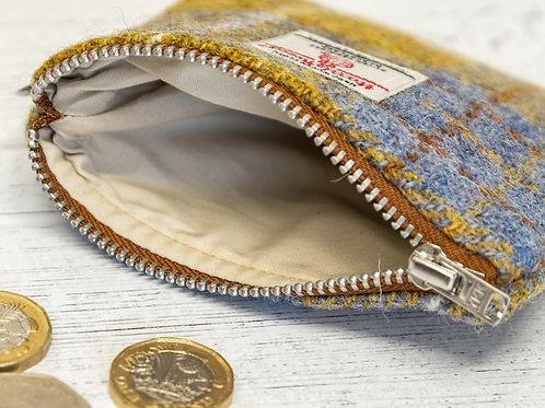 Blue & Mustard Tartan Harris Tweed Coin Purse