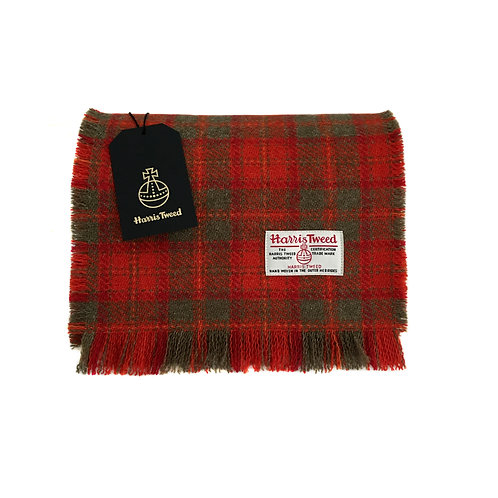 Red, Orange & Olive Green Tartan Harris Tweed Luxury Fringed Scarf
