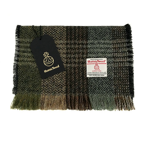 Brown and Green Tones Herringbone Check Harris Tweed Luxury Fringed Scarf