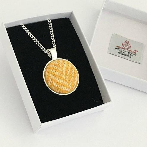 Yellow & White Herringbone Harris Tweed Necklace