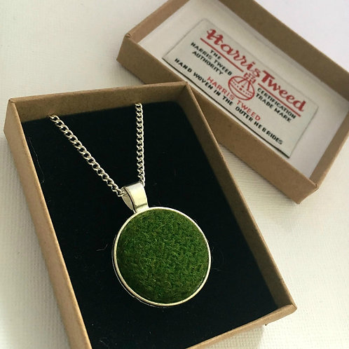 Forest Green Harris Tweed Necklace
