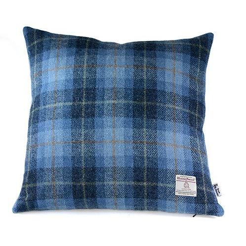 Blue Tartan Harris Tweed Cushion Cover