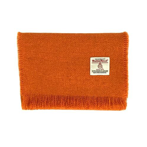 Orange Harris Tweed Luxury Fringed Scarf