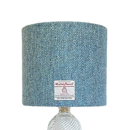 Turquoise Blue & Grey Herringbone Harris Tweed Lampshade