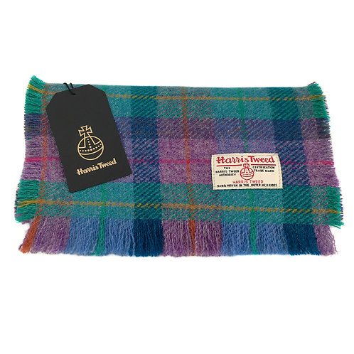 Violet and Kingfisher Blue Harris Tweed Luxury Fringed Scarf