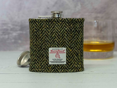 Harris Tweed Hip Flask - Olive Green & Black Herringbone