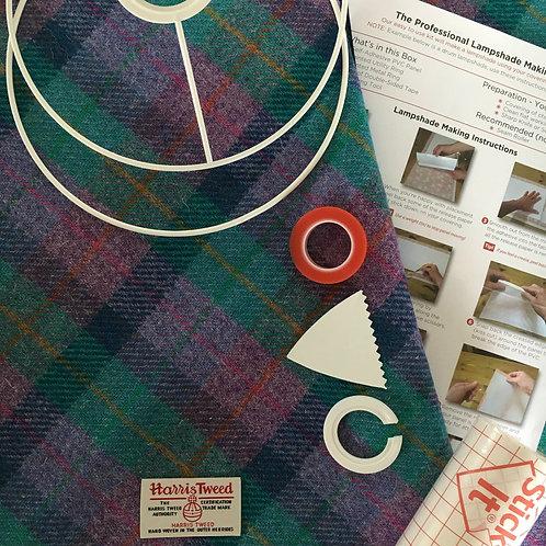 Violet & Kingfisher Blue Tartan Harris Tweed - DIY Lampshade Kit
