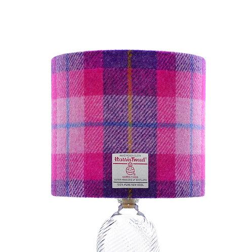 Pink & Dark Violet Tartan Harris Tweed Lampshade