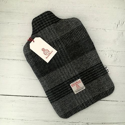 Black & Blue/Grey Herringbone Check Harris Tweed Hot Water Bottle Cover