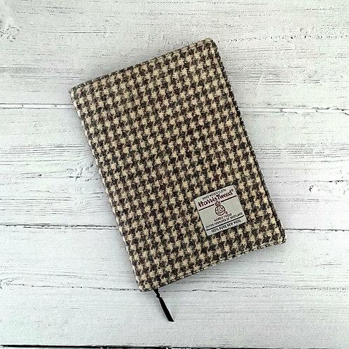 Beige & Grey Houndstooth Harris Tweed Padded A5 Notebook Cover