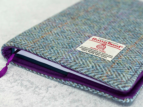 Rainbow Blue / Green Harris Tweed Padded A5 Notebook Cover