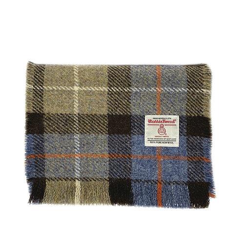 Brown, Beige & Blue Tartan Harris Tweed Luxury Fringed Scarf