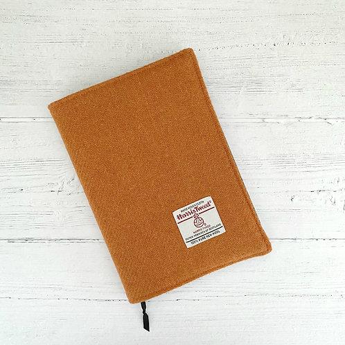 Orange Harris Tweed Padded A5 Notebook Cover - Animal