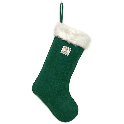 Green Harris Tweed Christmas Stocking