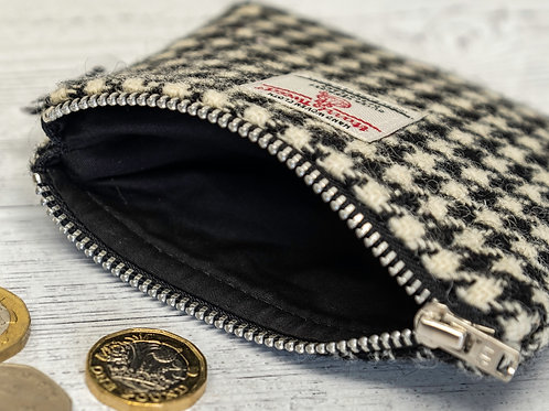 Black & White Houndstooth Harris Tweed Coin Purse