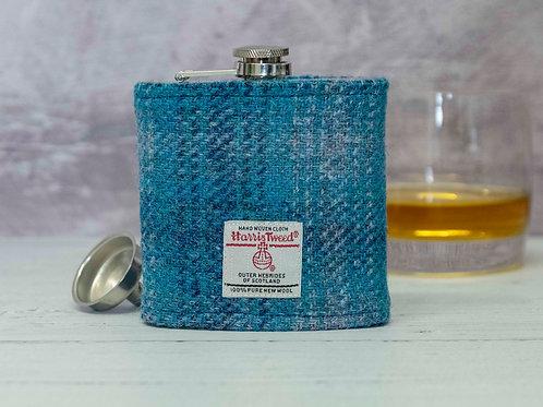 Harris Tweed Hip Flask - Glacier Blue & Grey Check
