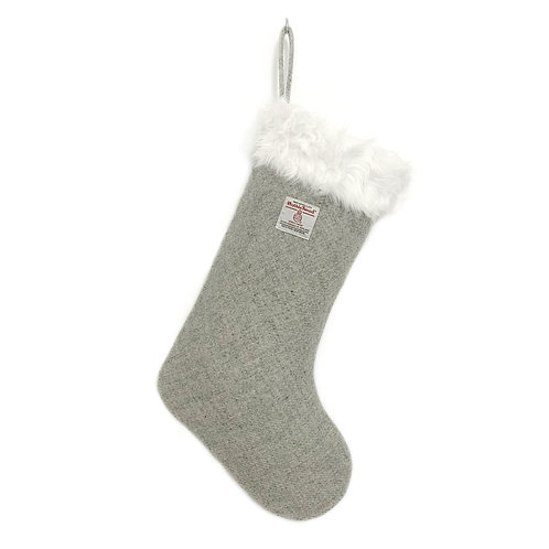 Grey Harris Tweed Christmas Stocking