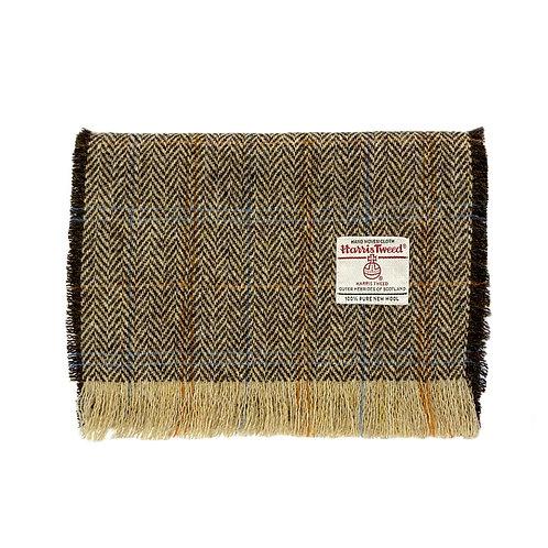 Brown Herringbone Harris Tweed Luxury Fringed Scarf