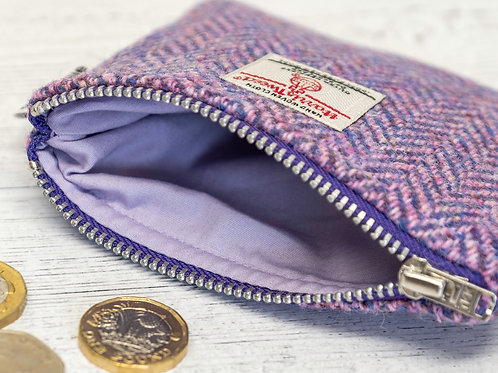 Lilac and Blue / Pink Herringbone Harris Tweed Coin Purse