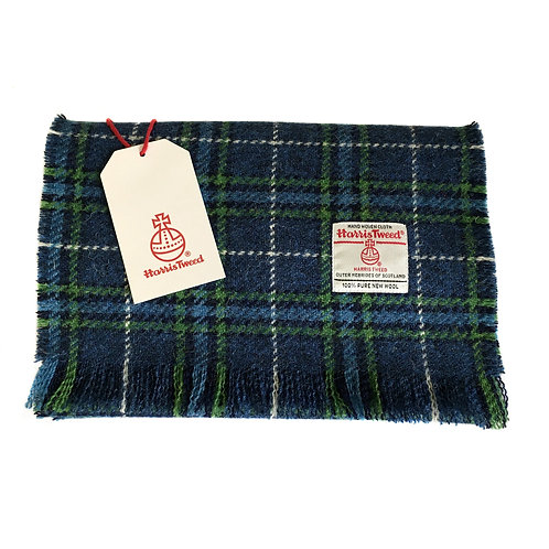 Blue & Green Tartan Check Harris Tweed Luxury Fringed Scarf