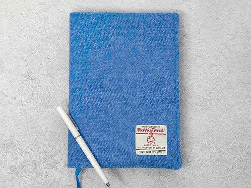 Cornflower Blue Harris Tweed Padded A5 Notebook Cover