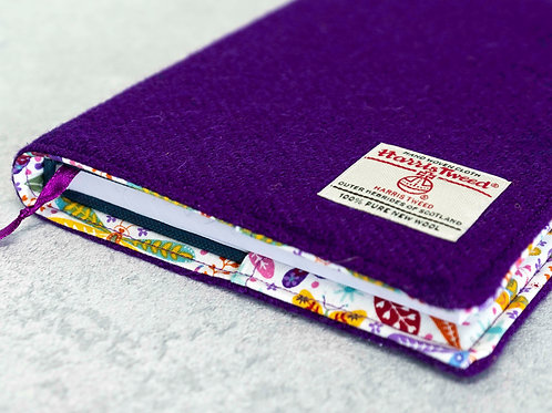 Purple Harris Tweed Padded A5 Notebook Cover
