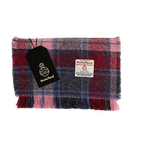 Raspberry & Pale Pink Tartan Check Harris Tweed Luxury Fringed Scarf
