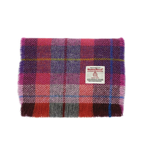 Pink & Purple Tartan Harris Tweed Luxury Fringed Scarf
