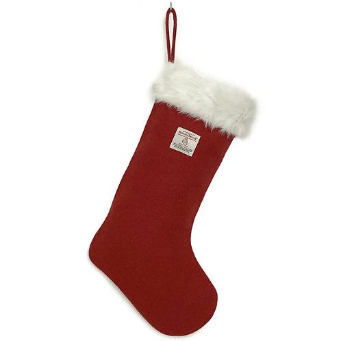 Berry Red Harris Tweed Christmas Stocking