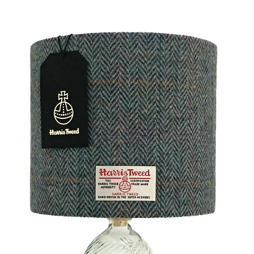 Rainbow Blue / Green Herringbone Harris Tweed Lampshade
