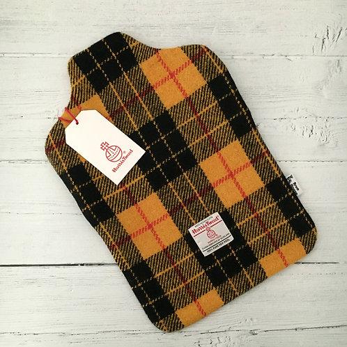 Yellow & Black MacLeod Tartan Harris Tweed Hot Water Bottle Cover