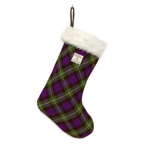 Purple & Green Tartan Harris Tweed Christmas Stocking