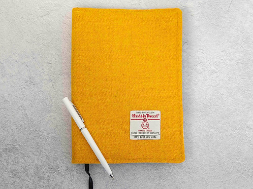 Yellow Harris Tweed Padded A5 Notebook Cover