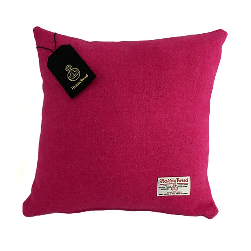 Bright Pink Harris Tweed Cushion Cover