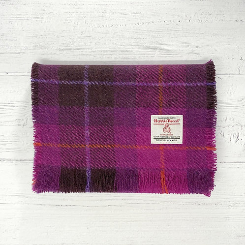 Cerise & Plum Tartan Harris Tweed Luxury Fringed Scarf