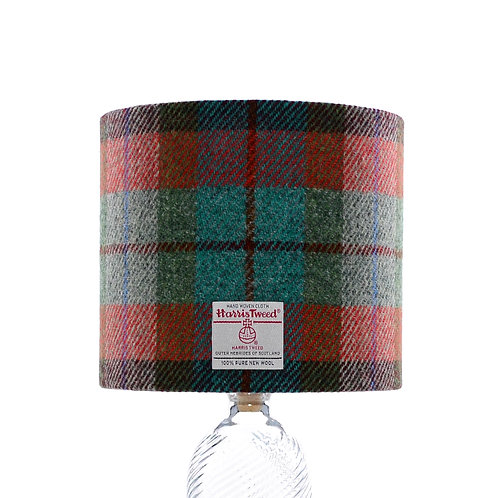 Orange, Green & Jade Tartan Harris Tweed Lampshade