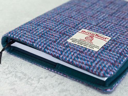 Blue / Purple Basket Weave Harris Tweed Padded A5 Notebook Cover