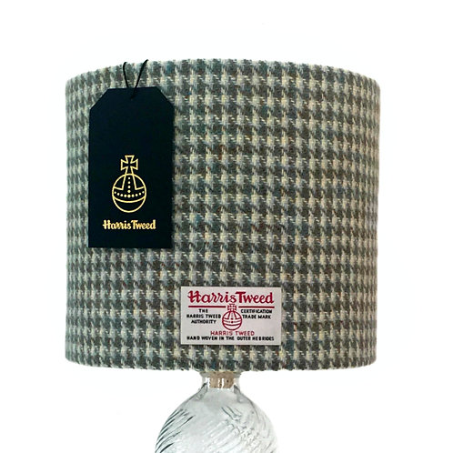Beige & Mint Green Houndstooth Harris Tweed Lampshade