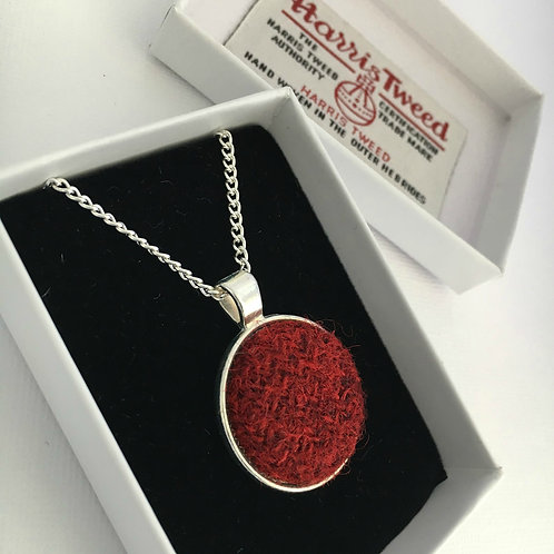 Deep Red Harris Tweed Necklace